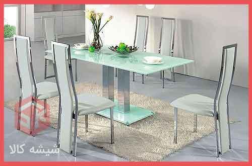 میز مستطیلی شیشه ای